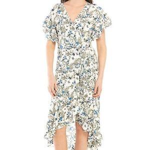 Romantic Floral Ruffled Wrap High Low Dress
